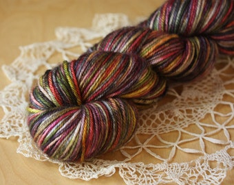 DK Weight Yarn / Hand Dyed Merino Silk Luxury / Black Rose Gold Chartreuse Dutch Masters Gilde