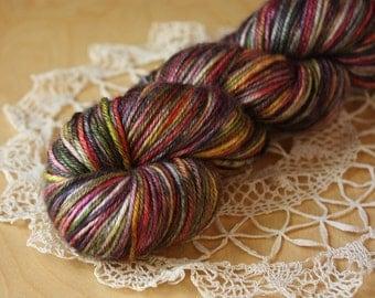 DK Weight Yarn / Hand Dyed Merino Silk Luxury / Black Rose Gold Chartreuse Dutch Masters Gilde / NEW