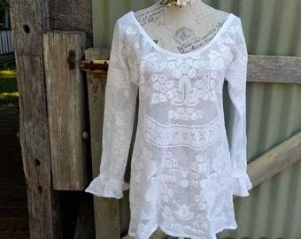 white lace  60s inspired mini dress, cute tunic,  medium +