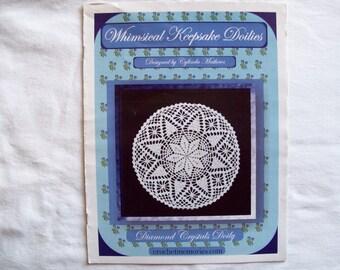 3 Crochet Doily Patterns, Booklet Thread leaflet Whimsical Keepsake Doilies, cylinda mathews, spiderweb spiral doily crochet memories