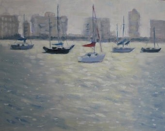 Plein Air Painting Original Oil Sailboats In Morning Light