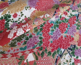 Japanese pure silk Brown Floral pattern