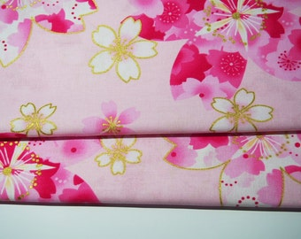 Japanese Fabric - flower - light pink