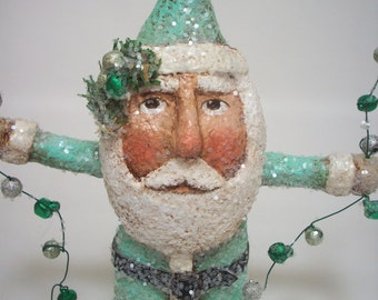Santa Paper Mache Folk Art Sea Green