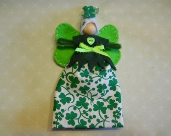 Fairy Doll in St Patrick's Day Cotton Fabric with Green Wings and White Hat, Child's Fairy Doll Toy