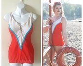 60s Cole of California Retro Swimsuit- 6, 8, Pinup Bathing Suit, One Piece Orange, teal, white
