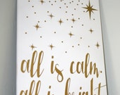 Christmas Decor, Christmas Sign, All is Calm, All is Bright, Silent Night, Christmas Decoration, Sign, Star Sign, Custom Sign