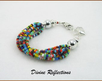 Multi-color Bracelet, Nine Strand Adjustable Bracelet, Butterfly Charm, Heart Charm