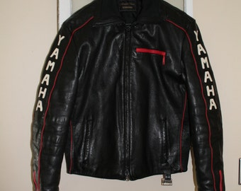 Vintage Leather Yamaha Motorcycle Riding Jacket, Coat