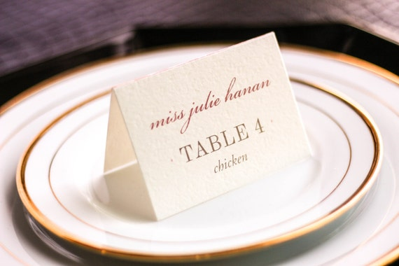 "Luxe Wedding Stationery, Blush and Champagne Wedding, Place Cards, Diamond Party Theme - ""Classic Elegance"" Tented Placecard v3 - DEPOSIT"