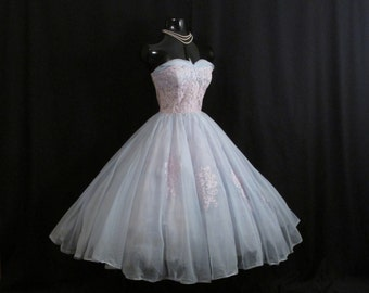 Vintage 1950's 50's 50s Strapless Baby BLUE Lavender CHIFFON Organza Lace Wedding Prom Party DRESS