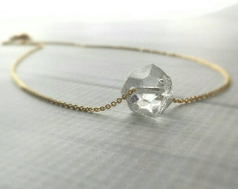 Ice Necklace - glass chunk clear pendant charm - gold / silver plated chain - minimalist winter snow crystal - Herkimer diamond stone style