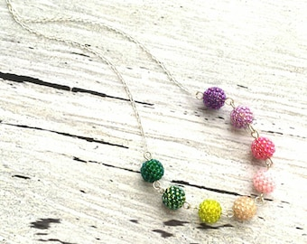 Beaded Necklace - rainbow bead .925 sterling silver chain ombre berry balls in purple pink green shaded ombre colorful multicolor watermelon