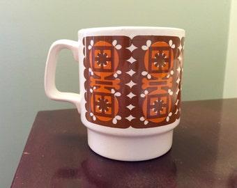 Orange & Brown Geometric Coffee Mug Ironstone, Made in England.