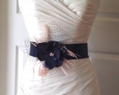 Navy Blue Lace Bridal Sash Belt, Navy Lace and Satin Flower Sash with Blush Pink Feathers Bridal Accessories, Sadie