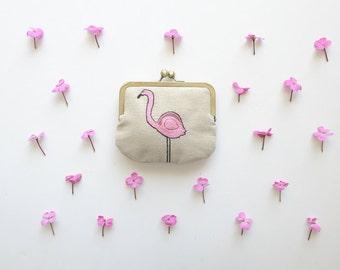 flamingo purse. embroidery. linen purse. pink flamingo purse. small wallet. kisslock purse.