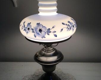 Vintage Milk Glass Lamp / blue floral Lamp / White Light / Vintage Entryway Lamp, Vintage Bedside Light