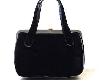 vintage black velvet purse - 1950s-60s mod handbag purse