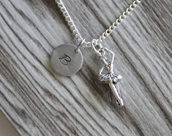 Ballerina Necklace Silver Plated, Personalized Initial Necklace, Gift for Girls, Ballet Necklace, Girl Ballerina Necklace, Dance Necklace