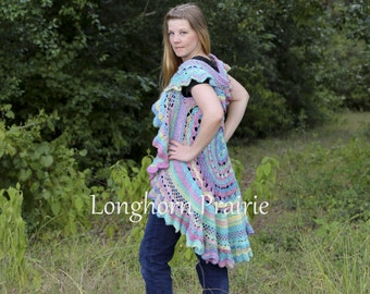 Circular Boho Vest hippie style shawl wrap crochet PATTERN PDF (instant download)
