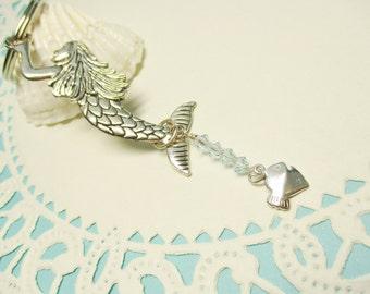 Mermaid Key Chain, Beach Accessory, Mermaid Key Ring, Purse Charm