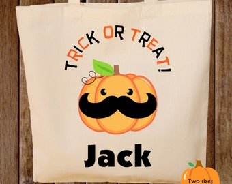 Trick or Treat Bag Halloween Tote Bag Trick or Treat Bag Canvas Tote Bag Mustache on Pumpkin
