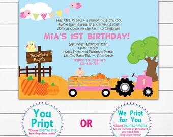 First Birthday Pumpkin Patch Birthday Party Invitation 1st Birthday Invitation