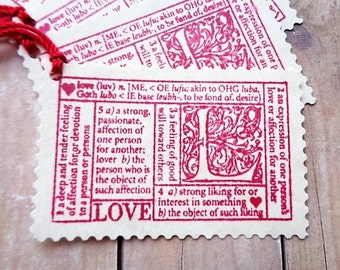 Love Gift Tags Valentine's Day Wedding Postage Stamp Style