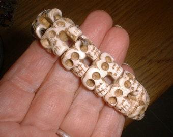 Bone SKULLS Bracelet Carved Mystical Rebirth