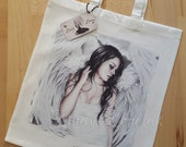Sad Angel Wings Heaven Bird Art Tote Bag Beautiful Fantasy Girl Zindy Nielsen