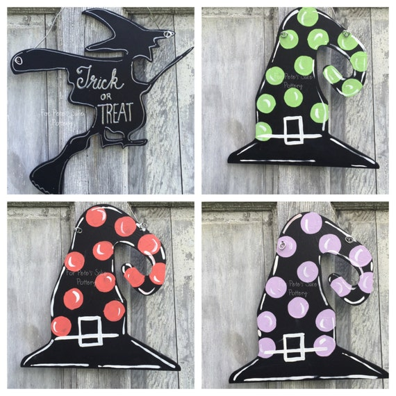 """Halloween door hanger, Witch's Hat door hanger Autumn door hanger, Halloween decorations, Witch hat sign -12"""""""