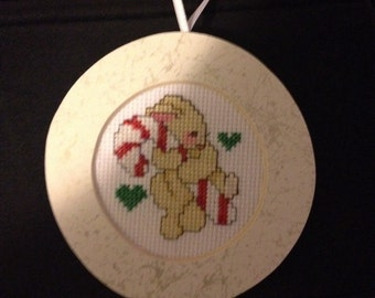 PERSONALIZED Candy Cane Rabbit Cross Stitch Ornament