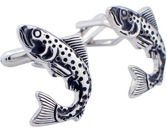 Black and Silver Fish Cufflinks Cuff links 1200236