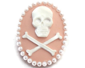 Pink Skull Brooch, Rockabilly Pink and White Cameo Pin, Pin up, Vintage Inspired, Punk rock, Goth, Skull and Crossbones