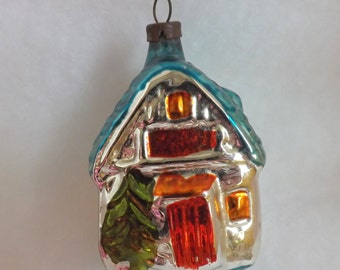 Vintage Christmas figural house glass ornament with trees orange and aqua house ornament cabin ornament