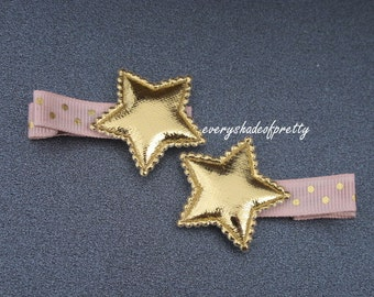 Pink and Gold Star Hair Clips--Gold Star Clips--Baby Hairclips