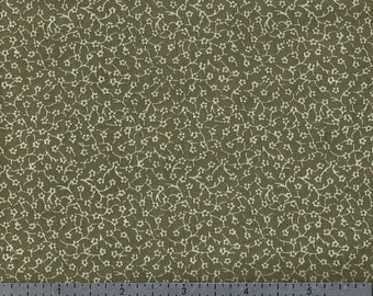Cotton Fabric - Tiny Cream Floral Print on Olive Green - by the Yard
