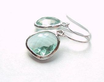 Prasiolite green amethyst glass and silver dangle earrings.  Bridal earrings. Bridesmaid earrings.  Wedding jewelry. Bridal jewelry.