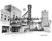 Memphis Landmark Pencil Sketch Orpheum Print Lafayette Ragsdale