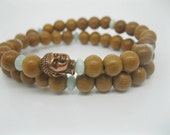 Double Wrap Buddha Mala Bracelet, Bayong Wood with Amazonite