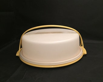 Tupperware Carrier, Pie Carrier With Handle, Harvest Gold, Potluck Tote