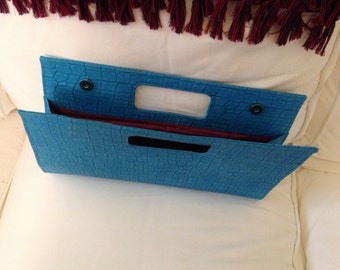 Vintage Large Clutch Handbag Persian Blue Faux Croc