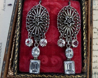 French Victorian Edwardian Paste Filigree Earrings, by RusticGypsyCreations