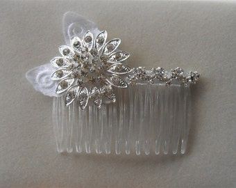 Bridal Sunflower Comb, Rhinestone Combs, Bride Silver Comb, Flower Hair Combs Wedding Hair Jewelry Bride