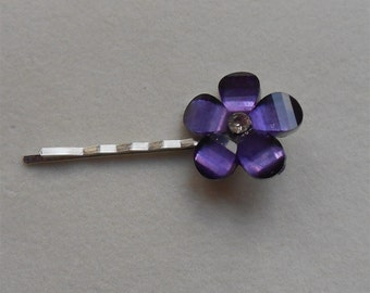 Hair Pin Purple Flower with Crystal