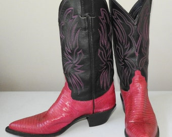 pink cowboy boots 6 6.5 7 Justin pink lizard SEXY boots