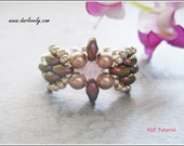 Beaded Ring Pattern - Cute Bow Superduo Ring (RG197) - Beading Jewelry PDF Tutorial (Digital Download)