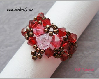 Beaded Ring DIY Tutorial - Pink Red Hearty Ring (RG 126) - Beading Jewelry PDF Tutorial (Instant Download)