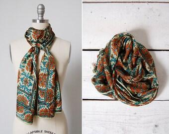 vintage 1960s scarf / 60s silk scarf / indian silk scarf / Chennai scarf