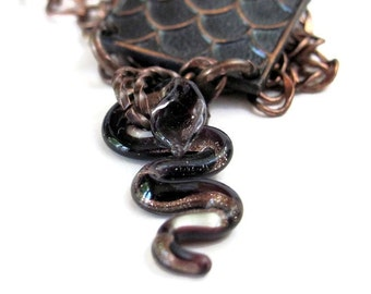 Black snake necklace serpent necklace unusual assemblage necklace copper jewelry  snake pendant voodoo jewelry vodou hoodoo snake jewelry